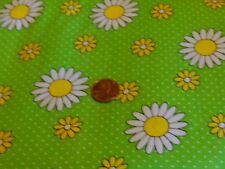SEWING CRAFTING QUILTING FABRIC BY THE HALF YRD DAISIES AND DOTS ON A GREEN BG