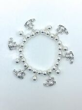 Teapot Set Charm Stretch Bracelet with Silver Plated Beads Tea Pot