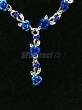 Blue and Crystal Rhinestone Necklace Earring Set Silver Fashion Jewelry Set