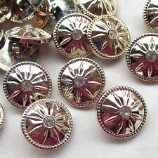 New 20pcs 25mm Gold Plastic Buttons Rhinestone Sewing Craft