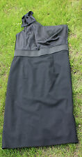 DKNY one shoulder straight knee length black silk satin dress size 8 worn once