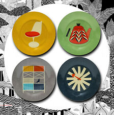 Set of 4 Modern Home Side Plates- Magpie Atomic Modernist Eames Retro Vintage