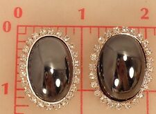 "2 large Czech silver metal shank buttons large hematite glass oval  1.25""  #455"