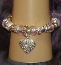 New 925 Sterling Silver Filled and Pink Crystal Fashion Charm Bracelet