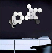 Modern 12pcs 3D Silver Mirror Geometric Hexagon Acrylic Wall Sticker Decor Art