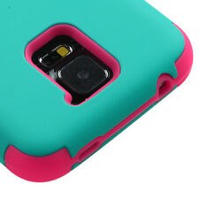 Samsung Galaxy S5 TURQUOISE / PINK Dual Layer Hard&Soft Rubber Hybrid Armor Case