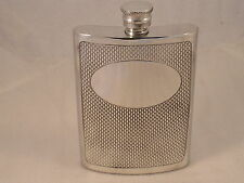 6oz PEWTER HIP FLASK WITH A BARLEY PATTERN