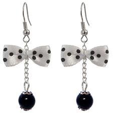 Boucles D'oreilles femme rétro pin up noeud papillon blanc à pois noir VERSION 2