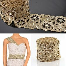 Hand Beaded Bridal Border 1 YD Trim Golden Craft Lace Mirror Work Pearl Beads