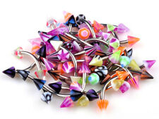 20X Mixed lot Cone Barbell Curved Eyebrow Piercing Stainless Steel Rings Bar US