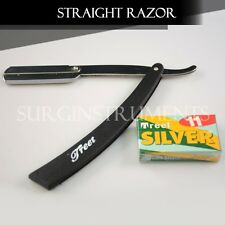 Straight Barber Edge Steel Razors Folding Shaving Knife With 11 Blades BLACK