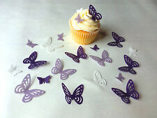 48 Edible Pre cut Wafer Paper Butterflies - 2 sizes - Purple mix - Cake toppers