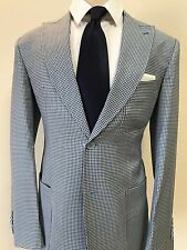 Blue/white Gingham Super 150 Cerrutti luxury Wool Suit With Patch Pocket-Italy