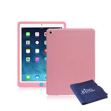 Silicone Rubber Shockproof Cover Case For iPad Mini 4 + Microfiber Cloth Pink