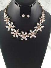 Gold and Clear Glass Flower Necklace Set