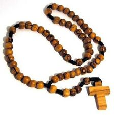 Olive wood rosary beads w/Jesus cross earth jerusalem bethlehem holy land