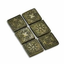 MINIATURE DOLLHOUSE FAIRY GARDEN ANCIENT SQUARE STEPPING STONES SET OF 6 - 16881