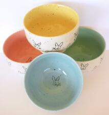 Easter Rabbit 4 pc Set Bowls Pastel Stoneware Bunny Soup Cereal Spring Decor New