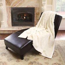 ULTRA SOFT PLUSH LUXURIOUS LUXURY WARM COZY FAUX FUR THROW BLANKET WHITE BLACK