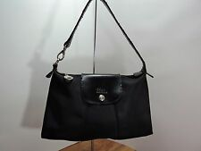 Longchamp Medium Hamptons Style, Black Nylon Tote, Leather Foldover Snap Close