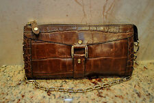 Brown Crocodile Print Leather Purse With Detachable Coin Holder Gold Hardware