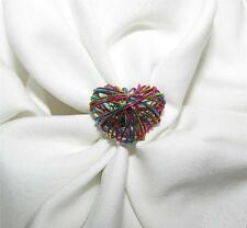 UNIQUE MULTI-COLOR WOVEN WIRE HEART SILVER TONE SPLIT BAND RING SIZE 6.5-EUC