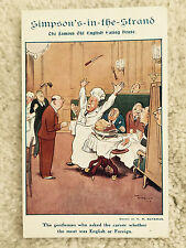 Simpson's-in-the-Strand Ad Postcard London UK  1908 Vintage  Divided Back
