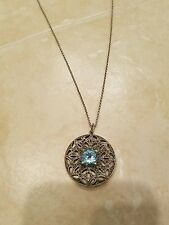 Judith jack marcasite round blue topaz pendant necklace