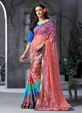 Indian Bollywood Designer Pure Georgette Net Ethnic Saree Blouse REDUCED