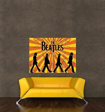 POSTER PRINT MUSIC TYPOGRAPH ABBEY ROAD SILHOUETTES BEATLES SUNSHINE SEB829