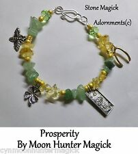 Prosperity Money Good Luck Stone Spell Bracelet Reiki Crystal Healing Pagan