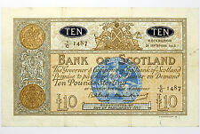1963 Bank of Scotland Ten Pounds VF+ ~ SC133 / P93c ~ Scarce £10 Note (940)