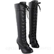 Winter Damen High Heels Schnürstiefel Victorian Lace Up Boots Stiefel Lederoptik