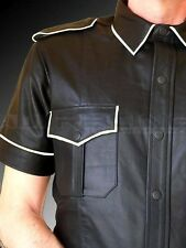 REAL SHEEP LEATHER MEN BLACK POLICE MILITARY STYLE SHIRT BLUF GAY Most Sizes/COL