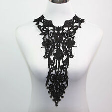 Long Black Off White Lace Applique Neck Neckline Collar Venise Lace Trims Craft