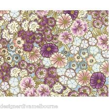 Kotori - Asian Blossom Scatter - Powder Blue/Gold ,cotton fabric