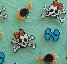 Nail Art 3D Sticker Halloween Skull w/ Bow & Crossbones TNT Bomb 23 pcs/sheet