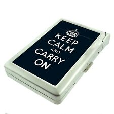 Metal Cigarette Case with Built In Lighter Keep Calm and Carry On Design-013