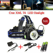 Tactical 8000Lumen Headlamp CREE XM-L T6 LED Headlight+2*18650Battery+2*Charger
