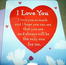"HEARTWARMER KEEPSAKE MESSAGE CARD ""I LOVE YOU"" INSPIRATIONAL POEM VALENTINES DAY"