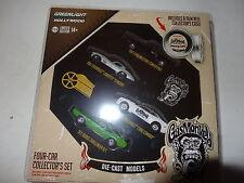 Gas Mono Garage 4 coche Carrete de película Set Mustang Challenger Stingray Camaro Nuevas
