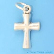 SMALL ELEGANT PLAIN CROSS .925 Sterling Silver Charm Pendant MADE IN USA