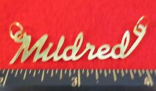 """14KT GOLD EP """"MILDRED"""" PERSONALIZED NAMEPLATE WORD CHARM PENDANT 6289B"""