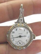 Vintage Zenith Yellow Gold 14Kt Blue Enamel Rose Cut Diamond Watch .35CT