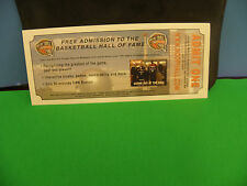 BASKETBALL HALL OF FAME ADMIT ONE FREEE ADMISSION TICKET