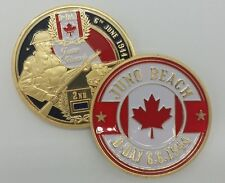Canada Infantry Division WW2 D-Day Juno Beach Gold Plated Coin