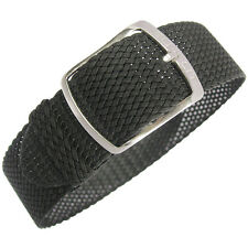 20mm EULIT Kristall Black Tropic Woven Nylon Perlon German Made Watch Band Strap