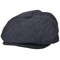 G & H Blue Wool Herringbone 8 Panel Peaky Blinders Style Newsboy Cap Hat