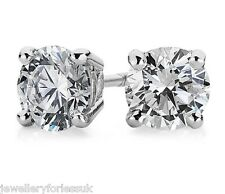 18Carat White Gold Diamond 4-Claw Solitaire 2.00 Carats Pair of Ear Studs