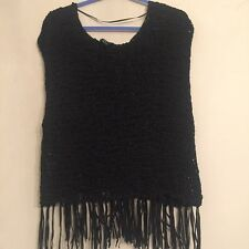 H&M Heavily Dyed Black Crochet Fringe Top Size XS